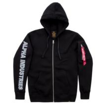 Sleeve Print Ziphoody kapucnis, cipzáras pulóver - fekete
