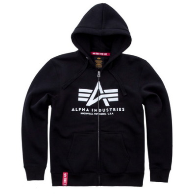 Alpha Industries Basic Ziphoody kapucnis, cipzáras pulóver - fekete