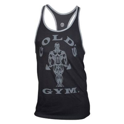 Gold's Gym edzőtrikó - fekete szürke szegéllyel