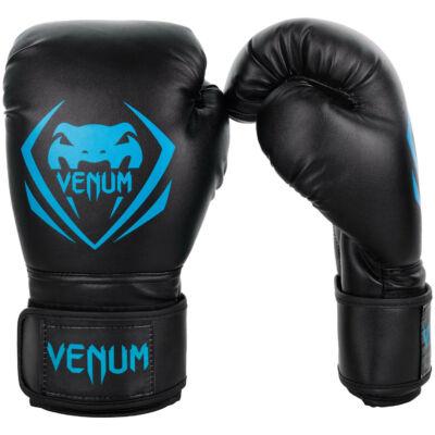 Venum Contender műbőr bokszkesztyű - fekete/ciánkék